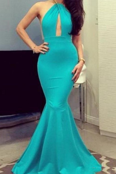 Turquoise Blue Cheap Mermaid Prom Dresses Sexy Halter Elastic Satin Floor Length Custom Made Backless Michael Costello Evening Gowns