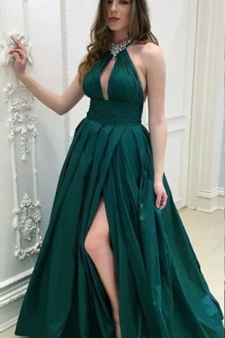 Dark Green Sexy Halter Hollow Out Satin Evening Dresses Sleeveless Side Split Floor Length Prom Gowns Cheap Long Celebrity Wear