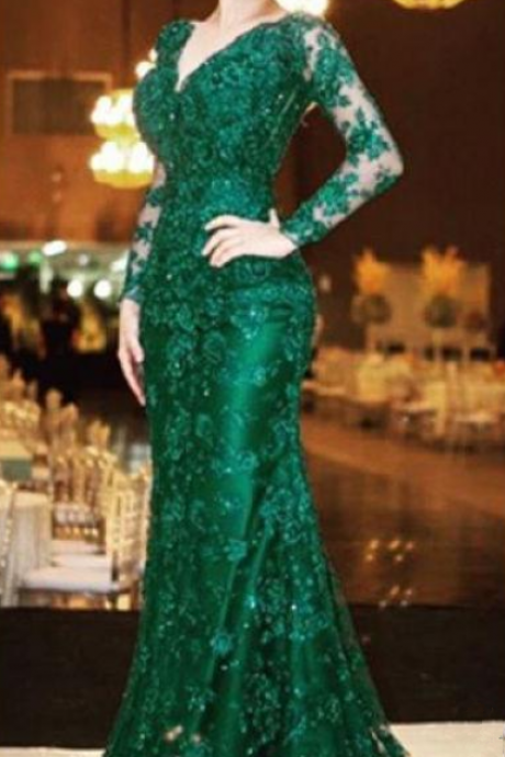 Emerald Green Prom Dresses Mermaid Sexy V Neck Backless Long Sleeve Evening Wear Puls Size For Mother of the Bride Dress Party Gowns