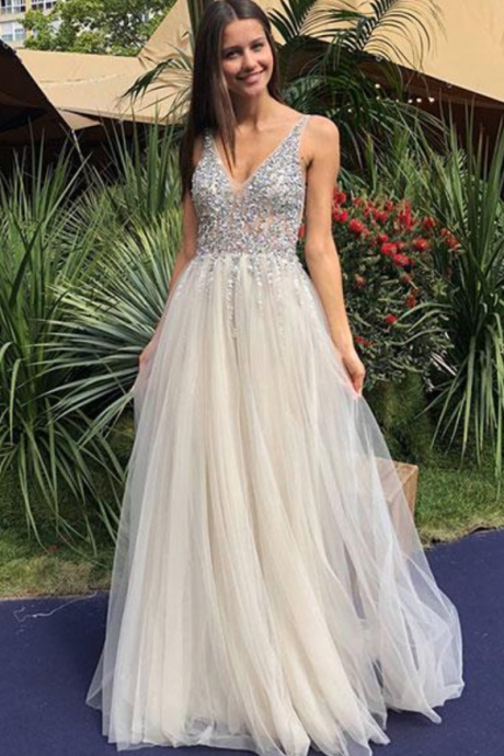 Sexy Champagne V-Neck Beaded Sequins Prom Dress,Long A-Line Tulle Evening Dress,Sleeveless Sexy Prom gown