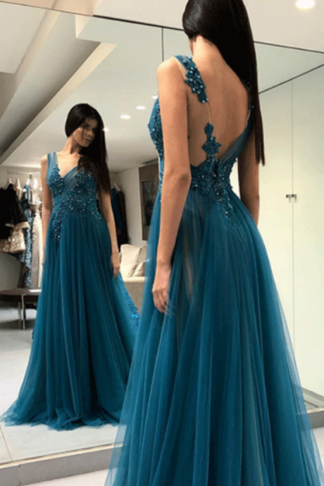 Ink Blue V neck Prom Dresses Long Beaded Evening Dresses Sexy Formal Gowns Teen Girls Party Graduation Dresses