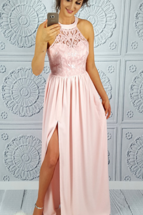 Pink Chiffon Prom Dresses Long Sleeveless Lace Appliques Evening Dresses High Slit Formal Gowns Sexy Party Dress for Women