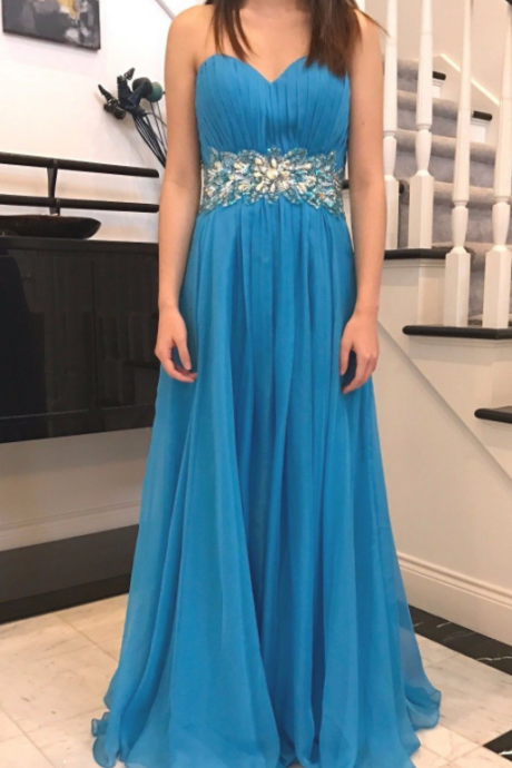 Chiffon Long Sweetheart Sky Blue Prom Dresses ,Long Elegant Prom Dresses, Party Dresses, Evening Dresses, Rhinestones Beaded Embellished Prom Dress