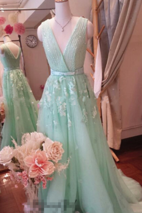 Mint Green Prom Dress,Zuhair Prom Dress,Crystal Prom Dress,Beading Prom Dress,Eternal Prom Dress,A-line Long Appliques