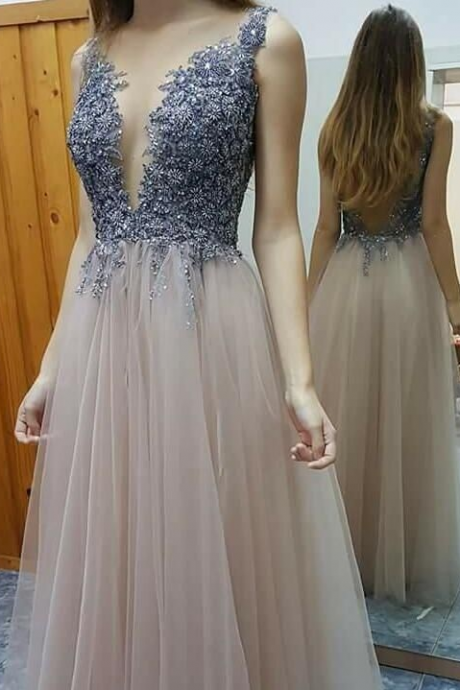 Sexy A-line Prom Dresses,Beaded Prom Dresses,Deep V-neck Prom Dresses,Tulle Beads Evening Dresses,Open Back Prom Dress,Party Dresses,Prom Dresses