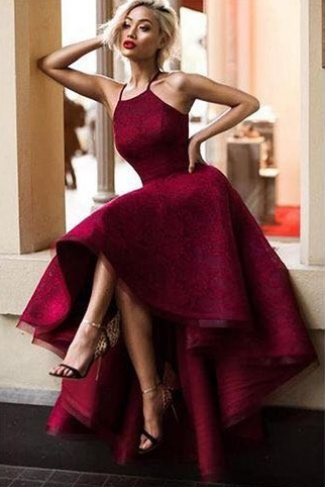 2018 New Design Wine Red High Low Prom Dresses A-Line Lace Ruffles Sleeveless Party Dresses High Quality Evening Dresses Custom Made
