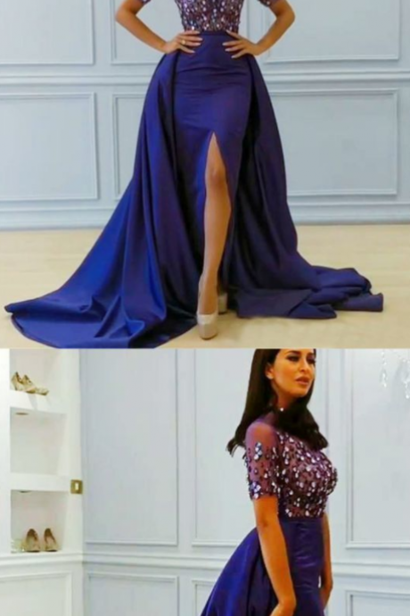 Mermaid Jewel Detachable Train Split Front Royal Blue Beaded Prom Dress with Sleeves