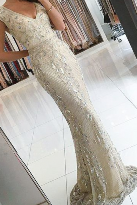Mermaid V-Neck Champagne Beaded Long Prom Dress with Appliques