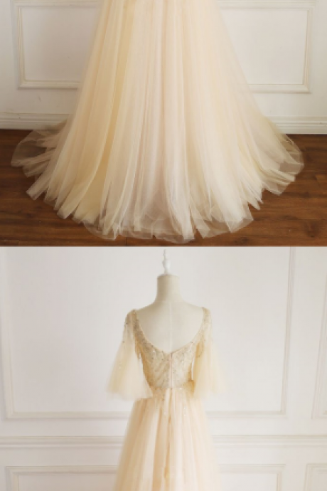 CHAMPAGNE V NECK TULLE SEQUIN LONG PROM DRESS, CHAMPAGNE EVENING DRESS