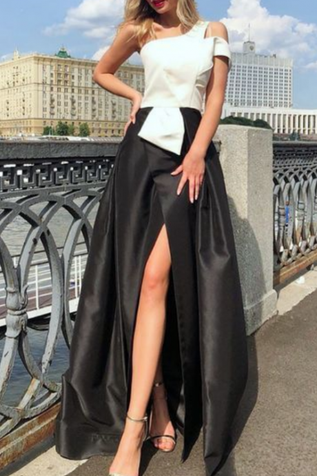 A-Line One Shoulder Split Front Black and White Prom Dress