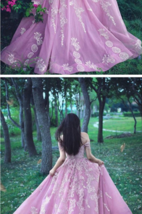 Pink Prom Dresses Long Off The Shoulder Appliques Long Chiffon Zipper Back Evening Gowns Custom Made Bridal Guest Dress