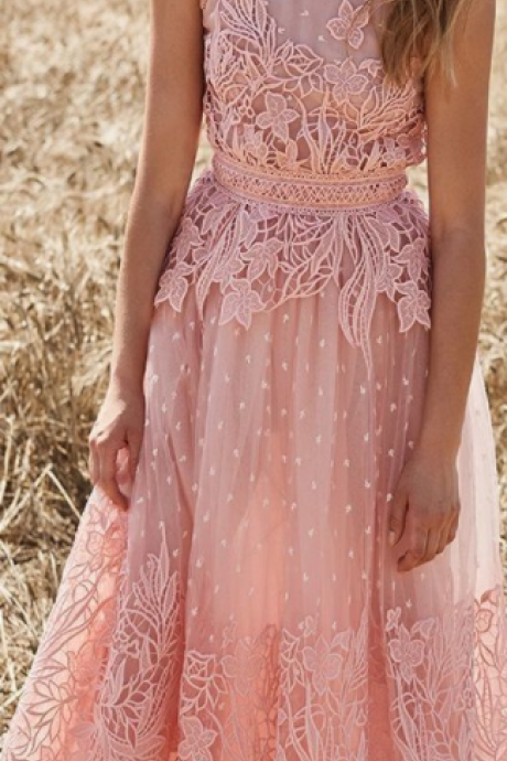 Halter Neck pink prom dress , lace cute gown , beautiful dress for teens