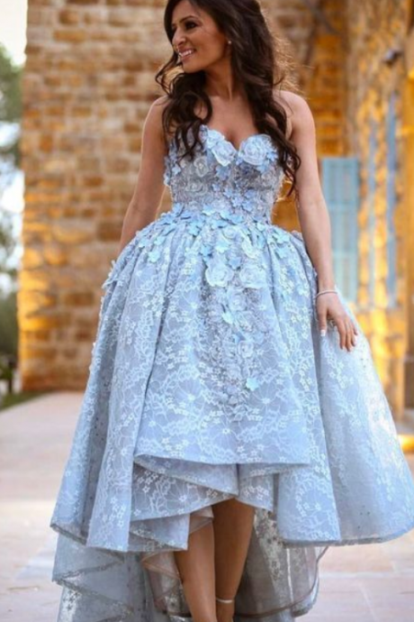 ASYMMETRICAL SWEETHEART PROM DRESS HIGH LOW LACE PROM DRESSES EVENING DRESS