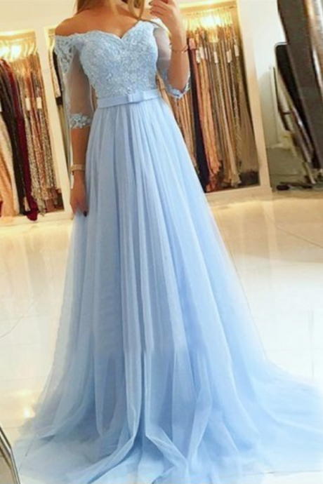 Elegant Blue Appliques Long Prom Dress with Half Sleeve Evening Dress