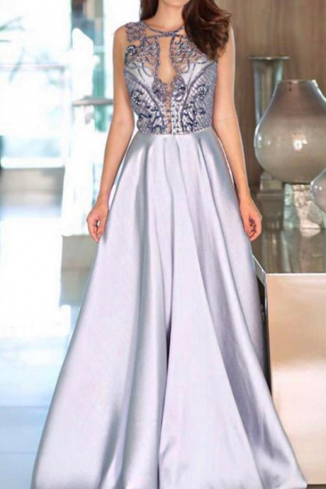 Copy of Sexy Prom Dresses Scoop A Line Floor-length Rhinestone Prom Dress Long Evening Dress