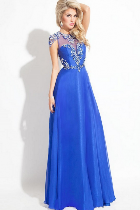Luxury Evening Dresses,Backless Evening Dresses,Appliques Evening Dresses,Black Blue Evening Dresses,Long Evening Dresses,Chiffon Evening Dresses