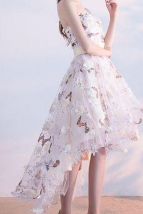 Sexy White A-Line Strapless Homecoming Dresses With Appliques,Asymmetrical Tulle Homecoming Dresses