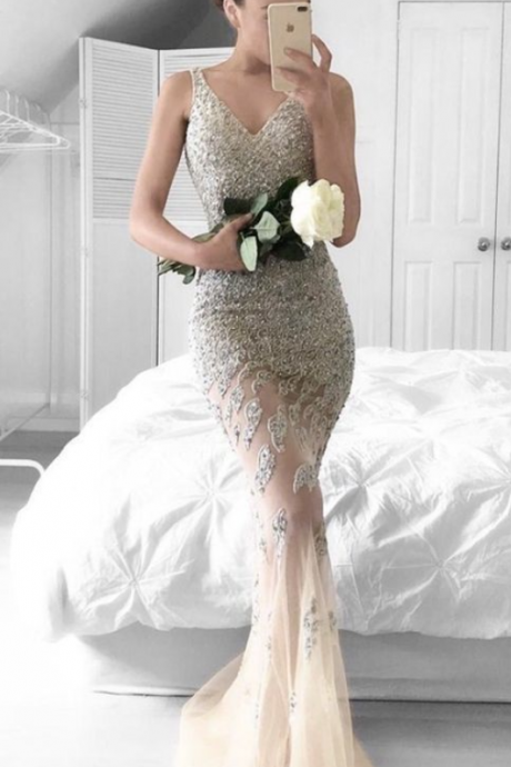 Mermaid V-neck Beading Sweep Train Silver Prom Dress with Lace