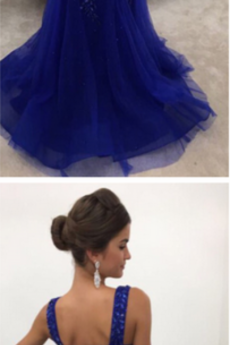 Elegant Royal-Blue Straps Mermaid Sleeveless Long Crystals Prom Dress
