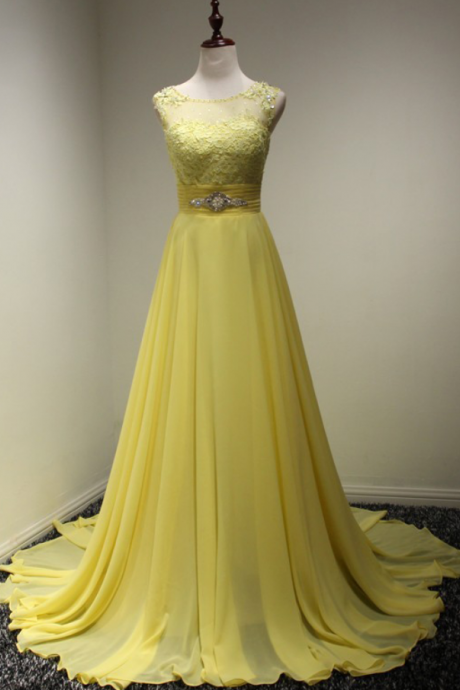 Evening Dresses 2016, Yellow Evening Dresses, A Line Evening Dresses,Long Chiffon Evening Dresses,Evening Gowns,Zipper Evening Dress, Red Carpet Dresses 2016,Long Prom Dresses, Formal Gowns,Party Dresses