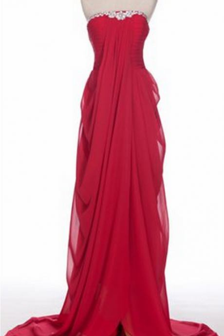 ,Formal Evening Dress,Unique Evening Dress,Chiffon Evening Dresses,Strapless Evening Dress