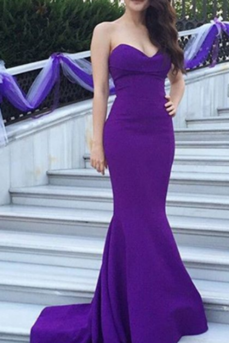 Purple Evening Dresses ,Sexy Evening Dresses , Mermaid Long Dresses ,Women Long Dresses ,Satin Long Girls Dresses , Wedding Party Dresses