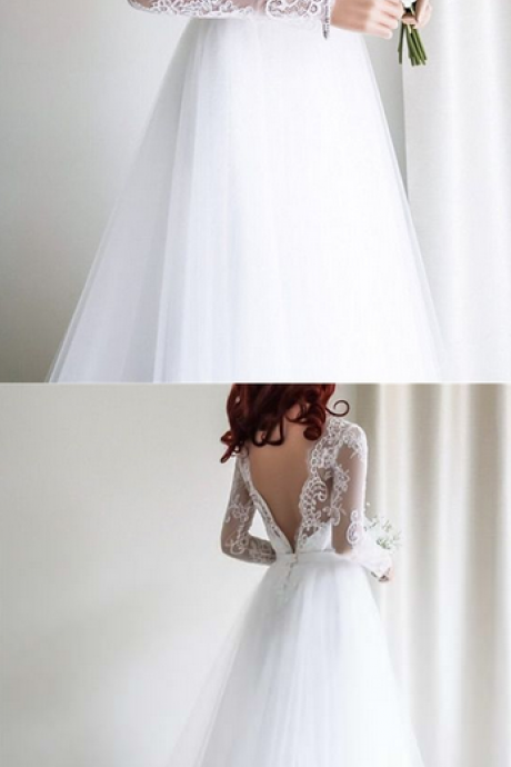 Lace Wedding Dresses Bateau Sweep Train Sexy Open Back White Bridal Gown,W2238
