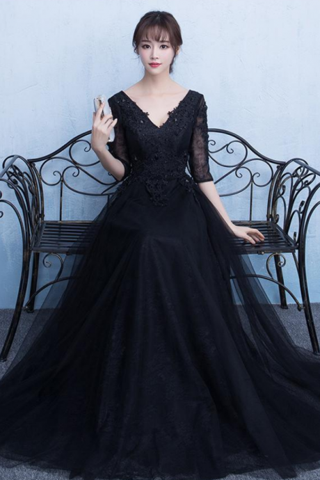 Hot Sales Black Half Sleeves Lace V Neck Cheap Prom Dresses Evening Party Dress Gowns,P2204