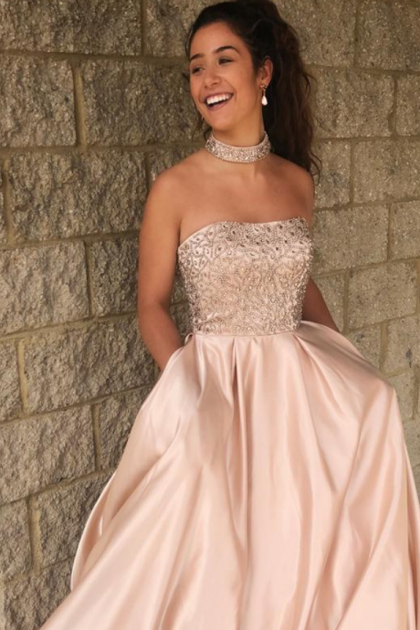 Rhinestone Beaded Prom Dresses, A-line Satin Prom Dresses, Newest Prom Dresses