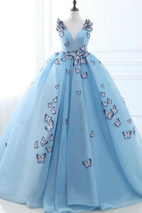 Ball Gown Long Sky Blue Butterfly V Neck Prom Dress,Quinceanera Dresses