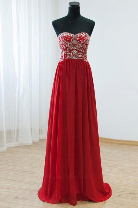 Gorgeous Red Prom Dress, Elegant Prom Dress, Long Prom Dresses, Cheap Prom Dress, Chiffon Prom Dresses, Sparkly Prom Gowns, Formal Evening Gowns, Real Photo Dress