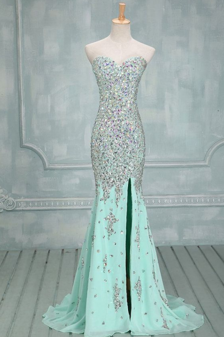 Strapless Sweetheart Mermaid Chiffon Prom Dress with Iridescent Beads Embellishment