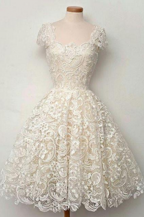 Cute white lace short prom dress, lace bridesmaid dress