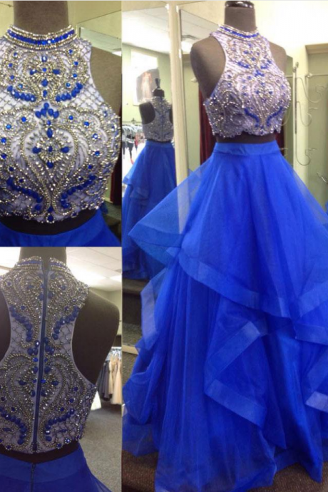 Two-pieces long prom dress, beautiful beading prom dress, high quality handmade prom dress, sexy long prom dress,