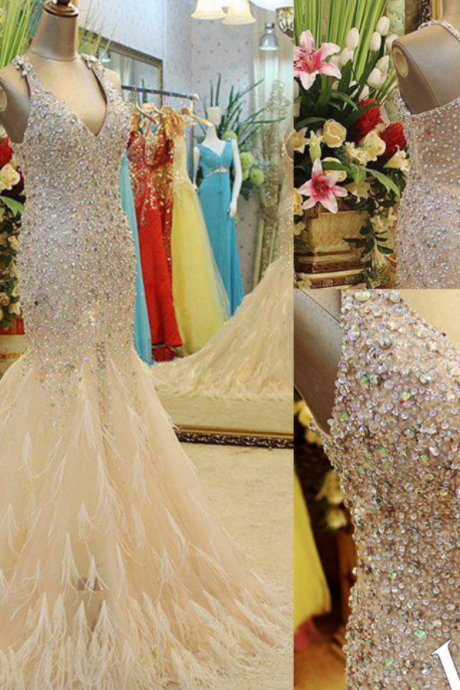 Prom Dresses,Luxurious Prom Dresses,Mermaid Prom Dress,Feather Prom Dress,Beaded Prom Dress,Floor length Prom Dress,Charming Prom Dress,Custom Prom Dress,Pageant Dresses