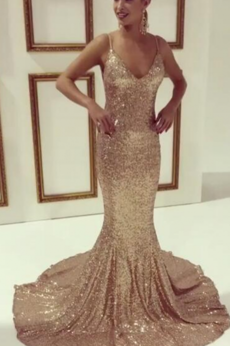 Prom Dresses,Sequins Prom Dresses,Charming Mermaid Prom Dress,Gold Sequins Prom Dress,Spaghetti Strap Evening Dress,V neck Party Gowns,Backless Prom Gowns,Sequins Evening Dresses Mermaid,Sexy Formal Gowns