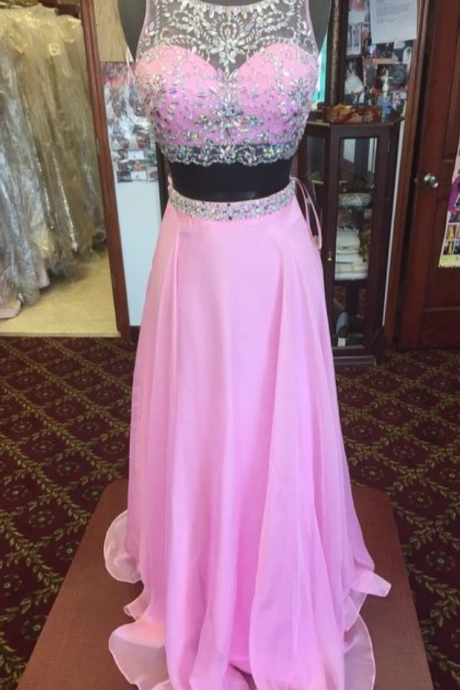 Evening Dresses, Prom Dresses,Party Dresses,Prom Dress ,Beaded Chiffon Prom Dress, A-line Evening Dresses, Two Pieces Prom Dress,Pink Chiffon Prom Dresses,Two Pieces Party Dresses,Prom Dresses