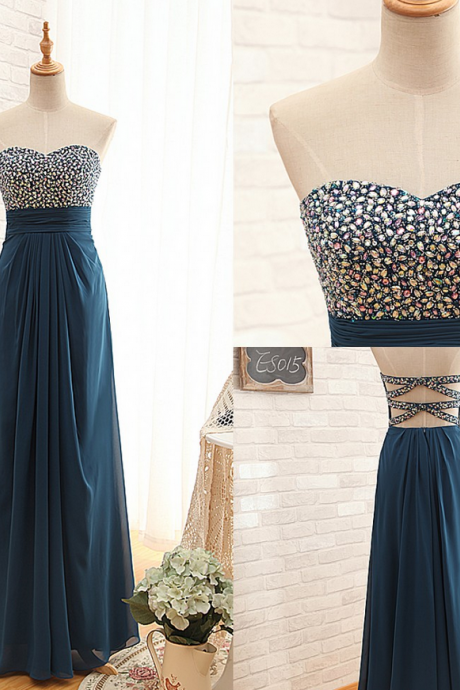 Ready to Ship Empire Beaded prom Dress,Long A-line Chiffon Graduation Dress,Sexy Open Back Formal Party Dress