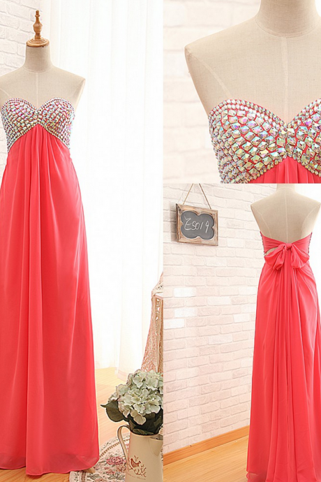 Ready to Ship Light Red Empire Prom Dress,Beaded Chiffon Graduation Dress,A-line Keyhole Back Formal Party Dress