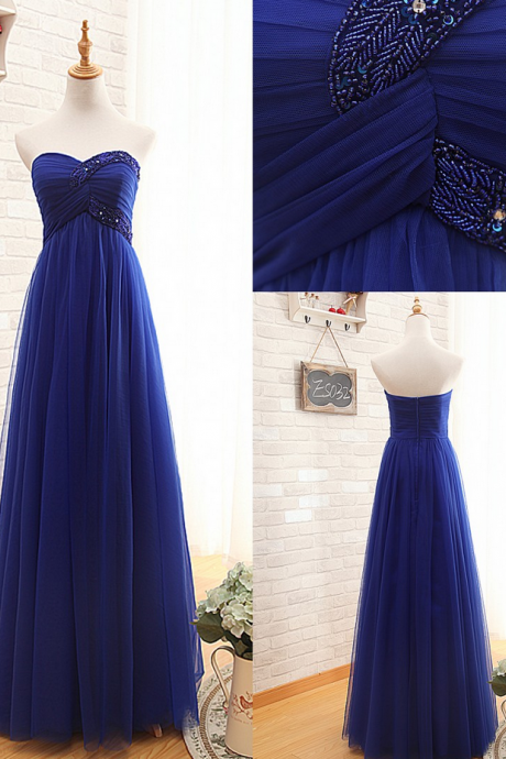 Ready To Ship Sweetheart Royal Blue Tulle Graduation Dress,A-line Royal Blue Prom Dress,Blue Tulle Party Dress