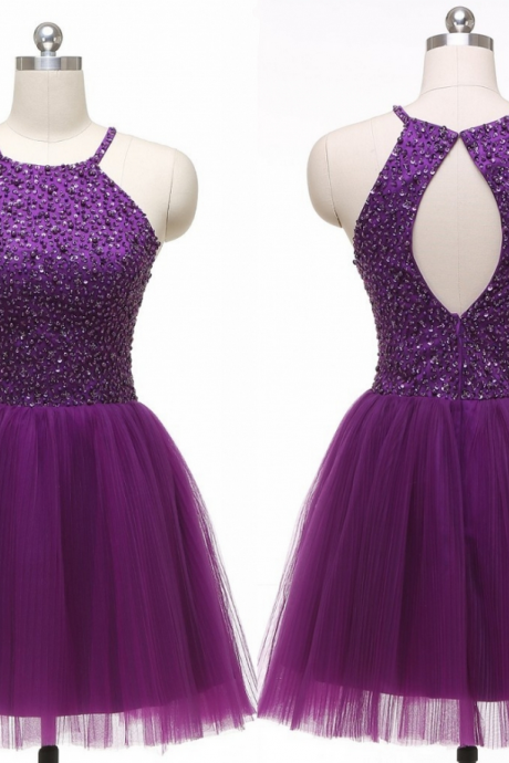 2016 Custom Beautiful Beading Homecoming Dresses, Short Purple Party Dress, Sleeveless Backless Formal Gowns,Halter Graduation Dresses