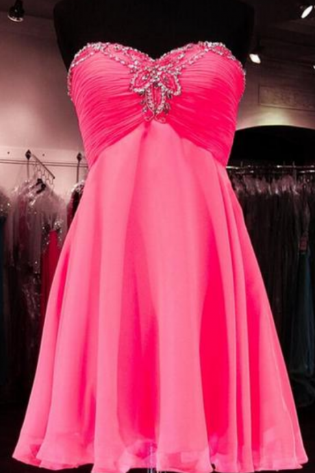 2016 Pink organza Homecoming dresses, Sweetheart Prom dresses, Cute Homecoming dresses, sexy Homecoming dresses, Custom prom dresses