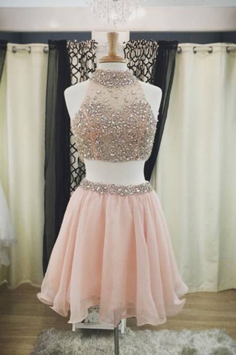 2016 Organza Homecoming Dresses,Elegant Evening Dresses,Beaded Pink Cocktail Dresses,2 Piece 2016 Popular Prom Dresses