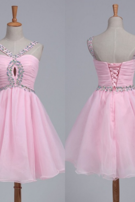Ball Gown Homecoming Dresses,Organza Homecoming Dresses,Pink Homecoming Dresses,Beaded Bridesmaid Dresses,Backless Homecoming Dresses