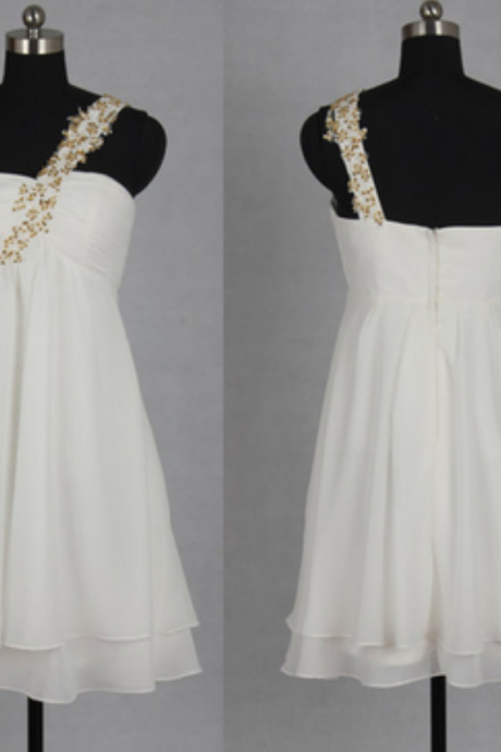 Charming White Homecoming Dresses,One-Shoulder Chiffon Prom Dresses, Gold Beaded Homecoming Dresses,Brief Cocktail Dresses