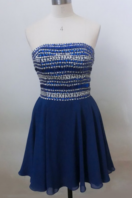 Royal blue Homecoming Dresses, Chiffon Prom Dresses,Sexy Strapless Homecoming Dresses, Beaded Sweetheart Cocktail Dress