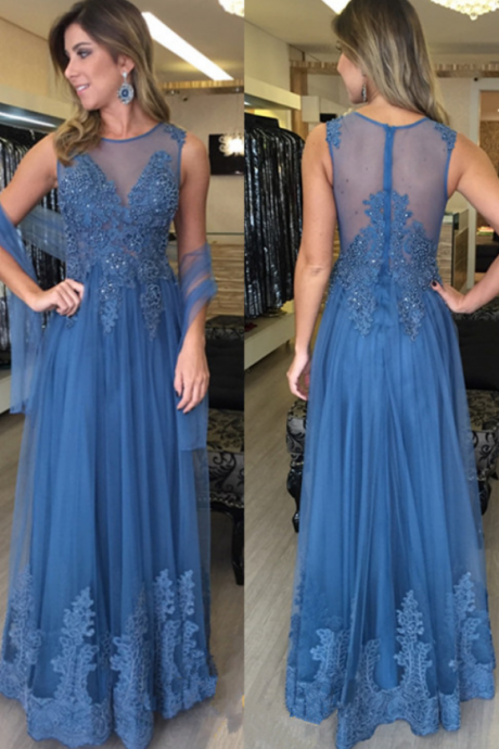 Sleeveess Lace Prom Dress,A-Line Prom Dresses,Evening Dress