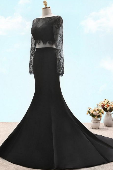 black two pieces long sleeves lace sexy prom dress with V back ,Prom Dress,Porm Dresses,Prom Gowns,Black Lace Prom Dresses,Trumpet Prom Dresses,Two-Piece Prom Dresses,Satin Prom Dresses,Sexy Prom Dresses,