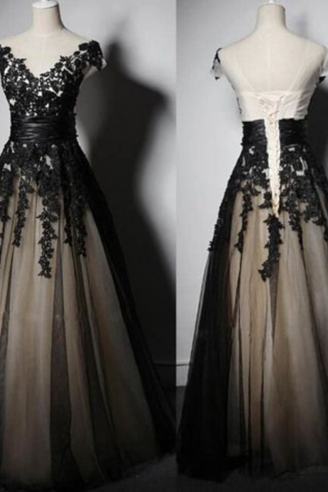 Charming Prom Dress,Appliques Prom Dress,Lace-Up Prom Dress,Tulle Evening Dress