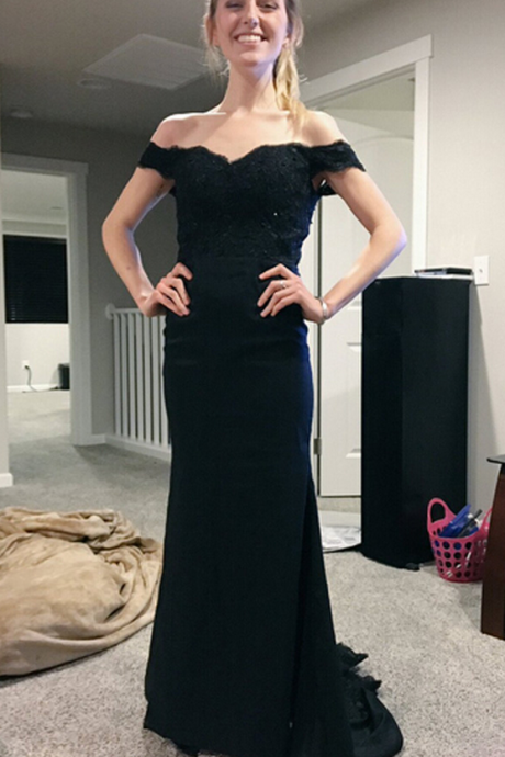 Prom Dresses, Black Prom Dresses, Lace Prom Dress, Mermaid Prom Dresses, Mermaid Evening Gowns Appliquéd, Mermaid Evening Dress, Mermaid Bridesmaid Dresses